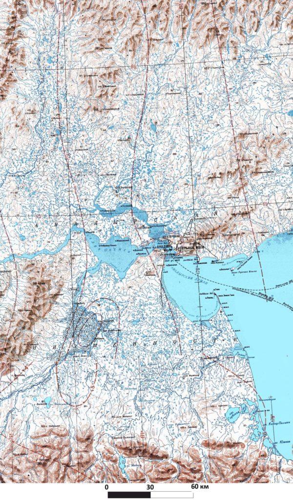 Фрагмент топографической карты м-ба 1:1 000 000