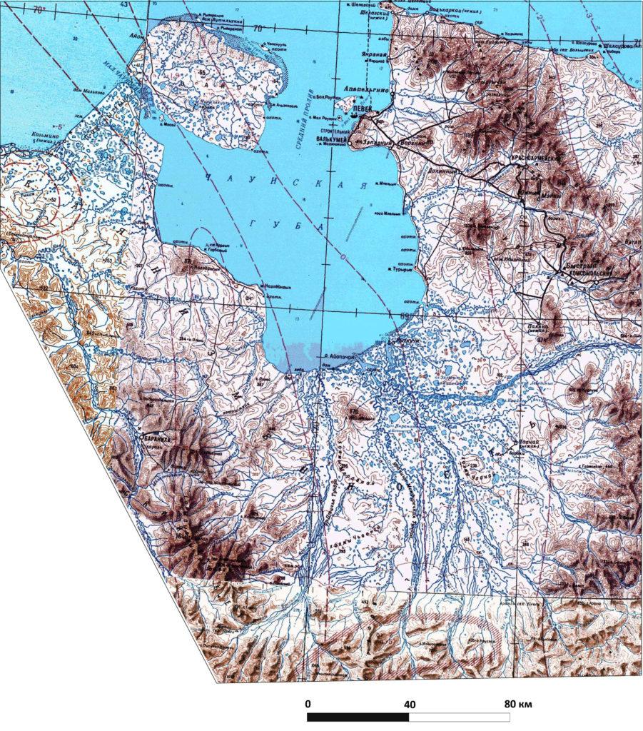 Чаунская низменность. Фрагмент топографической карты  масштаба 1:1 000 000