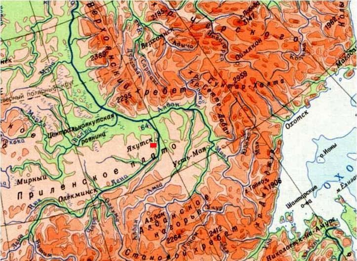 Фрагмент физической карты юго-восточной Якутии Масштаб 1:8 500 000