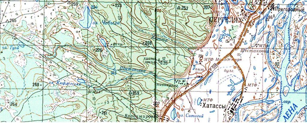 Фрагмент топографической карты масштаба 1:200 000 Бассейн реки Шестаковка